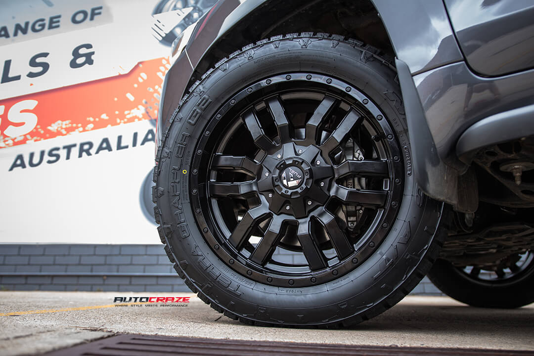 Toyota Landcruiser Fuel Sledge Matte Black Wheels Nitto Terra Grappler G2 Tyres Front Left Close Up Wheel Shot Janurary 2017