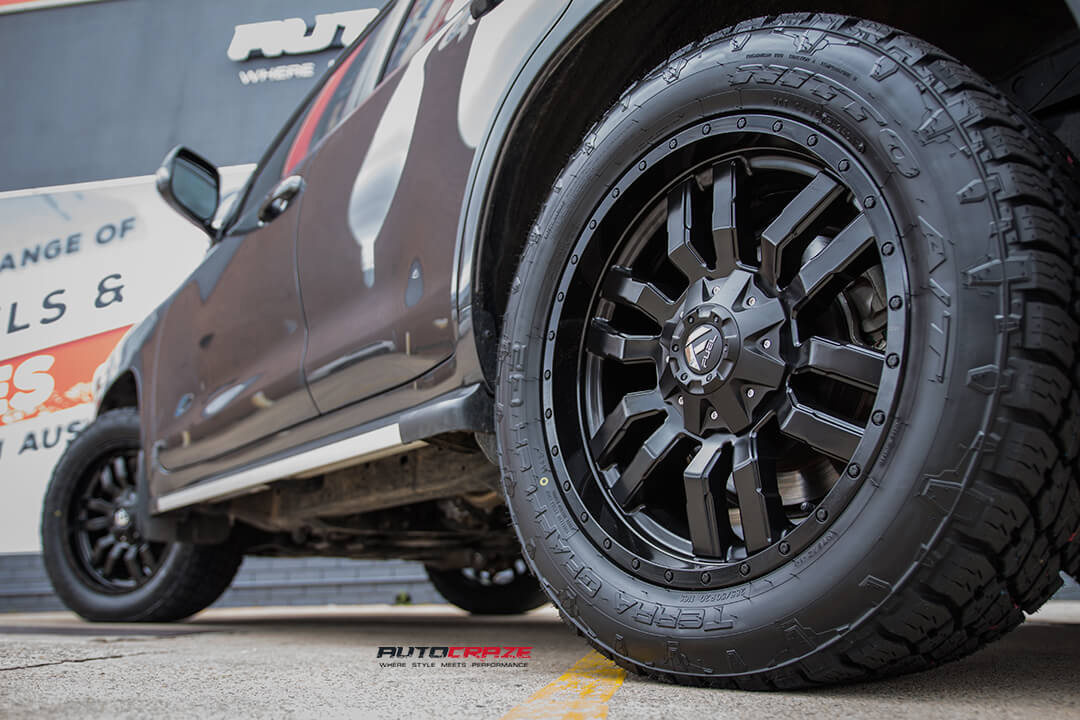 Toyota Landcruiser Fuel Sledge Matte Black Wheels Nitto Terra Grappler G2 Tyres Rear Left Wide Wheel Shot Gallery Janurary 2017