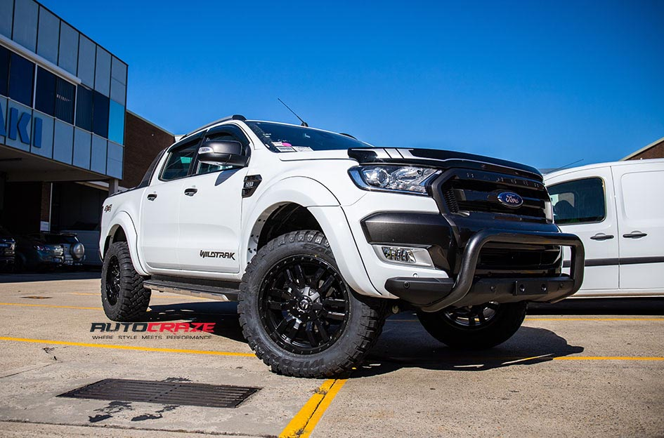 White Ford Ranger Fuel Sledge Wheels Falken Wildpeak Tyres Front Close up Shot Gallery May 2018