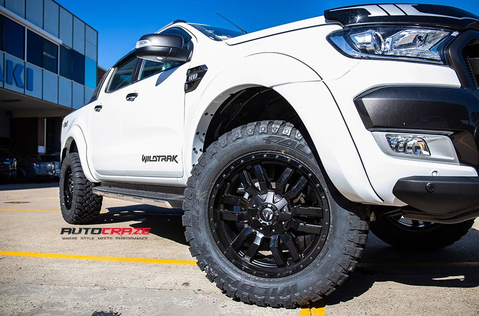 White Ford Ranger Fuel Sledge Wheels Falken Wildpeak Tyres Front Fitment Close up Shot Gallery May 2018