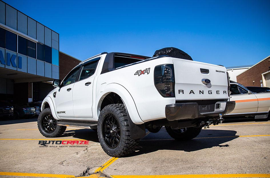 White Ford Ranger Fuel Sledge Wheels Falken Wildpeak Tyres Rear Close up Shot Gallery May 2018