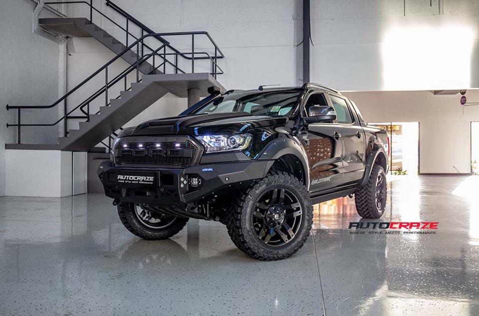 Ford Ranger Roller Shutter Fuel Pump Wheels Falken Tyres 4x4 Accessories Front Close Shot July 2018