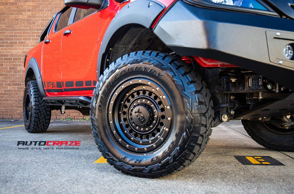 Mazda BT50 KMC XD Panzer Wheels Toyo Tyres Front Fitment Close Up Shot Gallery July 2018