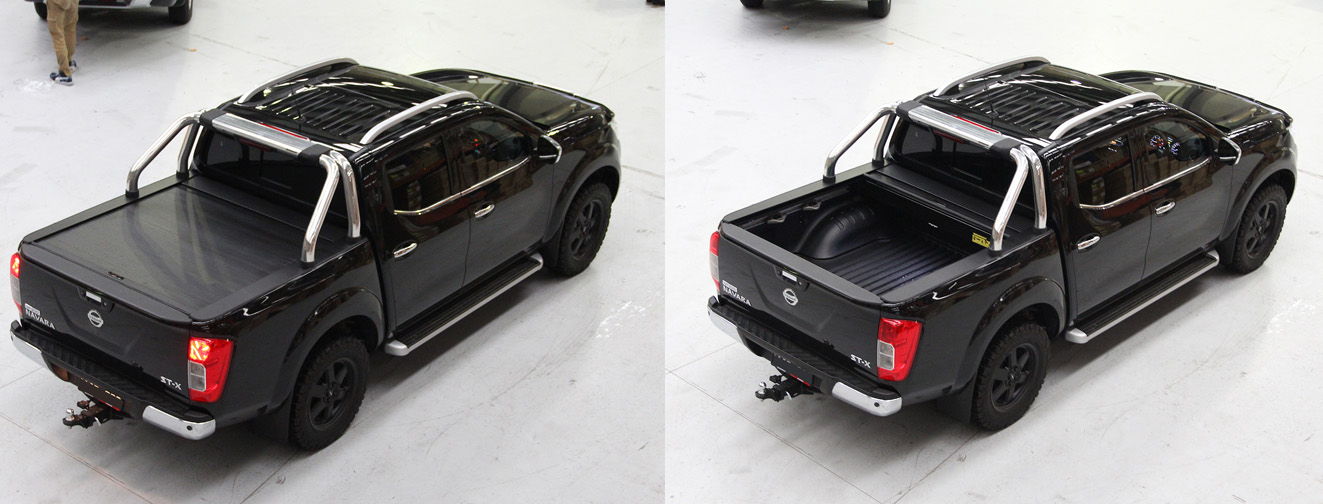 Open and closing shots of the Nissan Navara Roll-R-Cover.