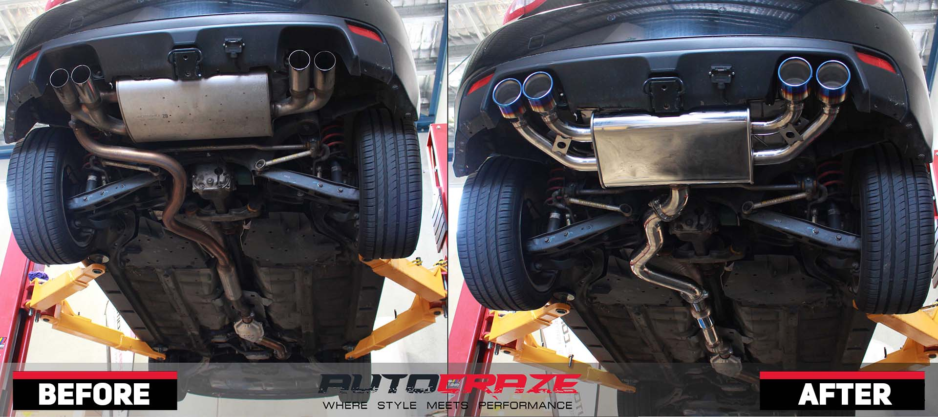 A Subaru WRX before and after shot of new exhaust installation.