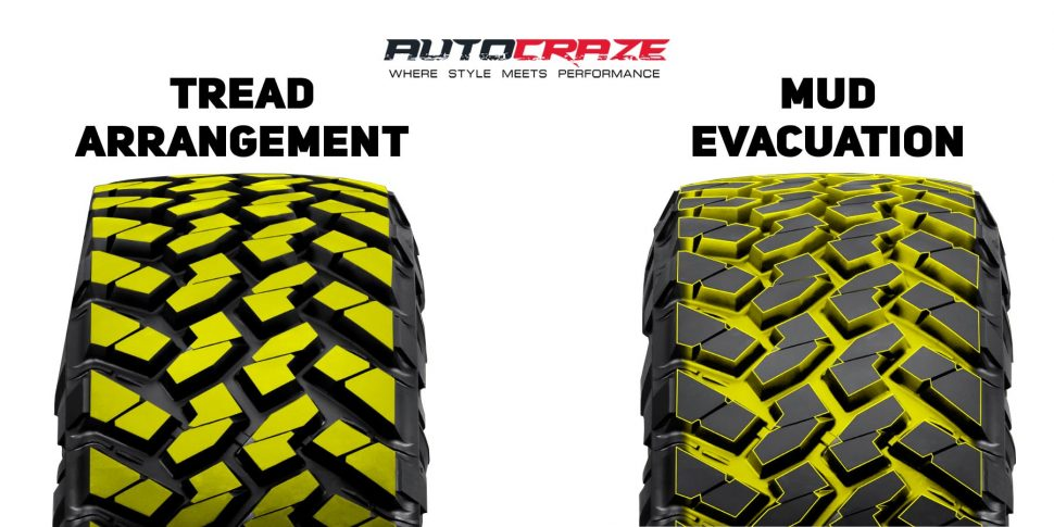 Nitto Trail Grappler tyre showing the tread arrangement and mud evacuation.