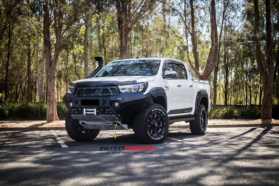 Toyota Hilux Moto Metal MO962 Wheels BFG Tyres Flares Light Covers Rival Toyota Hilux Bumper Bar Front Fitment Close Up Shot April 2018