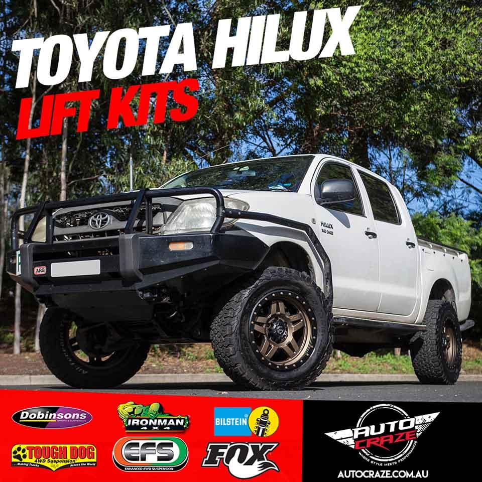 White Toyota hilux showcase of lift kit brands