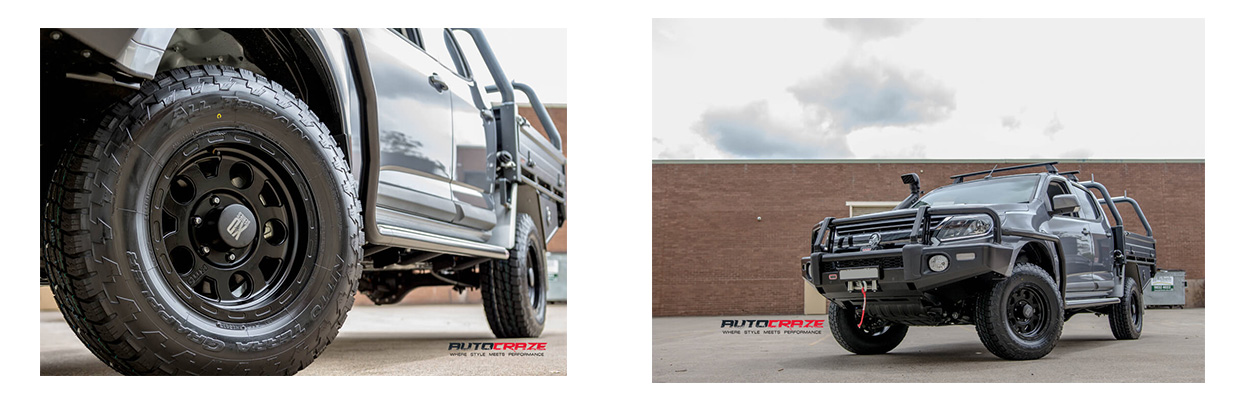 Grey Holden Colorado with KMC wheels and Nitto Terra Grappler tyres. Close up and wide shot.