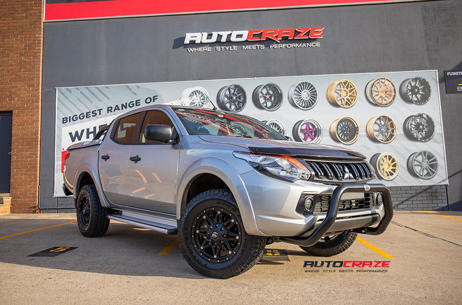 Silver Mitsubishi Triton Fuel Hostage Wheels Toyo Open Country Tyres Front Close Up Shot Gallery May 2018