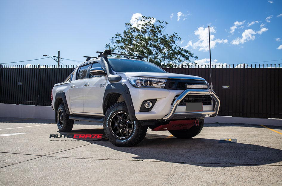 White Toyota Hilux Grid GD07 Wheels BF Goodrich Tyres Front Close Up Shot Gallery May 2018