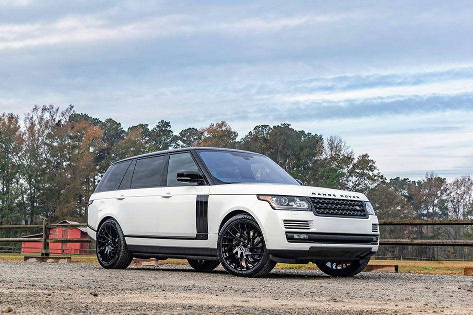White Land Rover Range Rover Redbourne Westminster gloss black directional mesh wheels