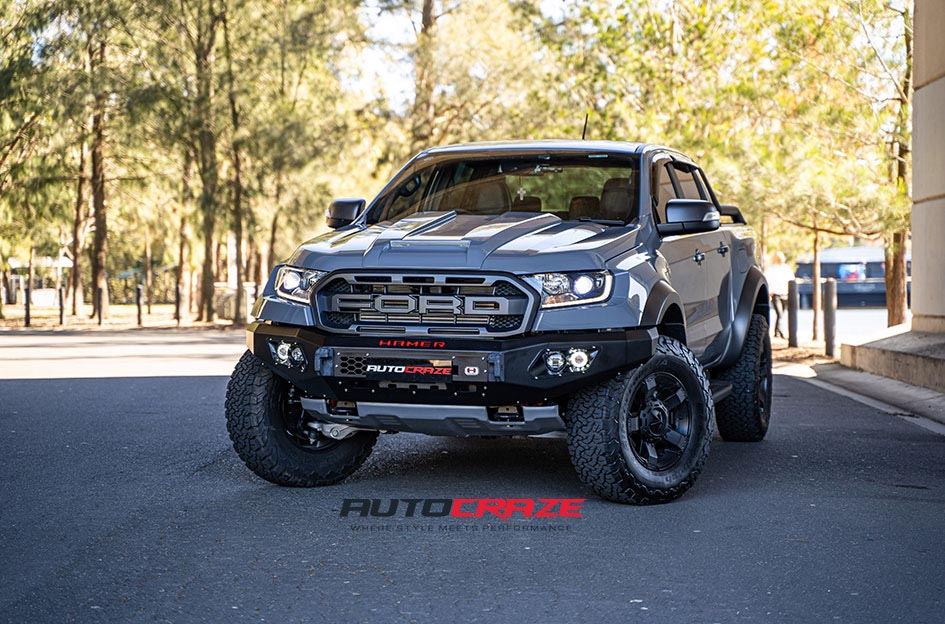 Grey Ford Ranger Raptor Black 4WD Rims