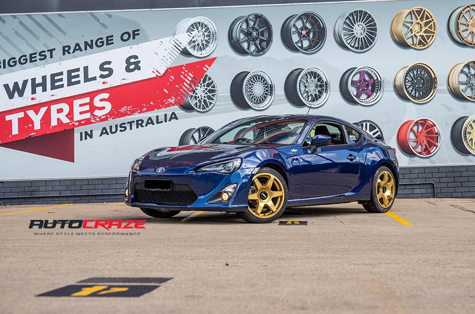 Toyota 86 Rotiform Six Gold Wheels Front Close Up Shot Gallery A