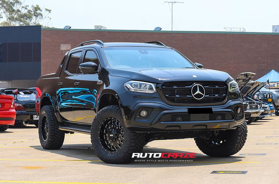 MERCEDES X CLASS GD03 GLOSS BLACK MILLED ACCENTS