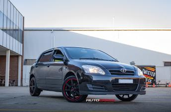 Toyota COROLLA MR142 SATIN BLACK W/ RED STRIPE