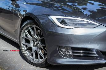 TESLA MODEL S CH R MATTE TITANIUM WITH STAINLESS STEEL RIM PROTECTOR  small
